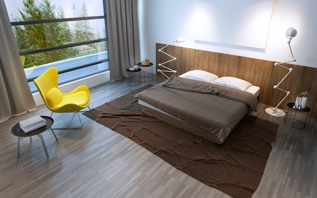 Interior of the comfortable bedroom in brown color, panoramic window and beautiful nature outside. 3d render