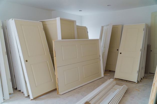 Interior construction of housing project with drywall installed door for a new home installing
