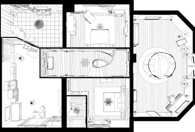 内部輪郭の視覚化3dイラストスケッチアウトライン