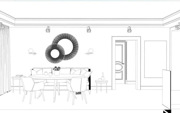 内部輪郭の視覚化3dイラストスケッチの概要