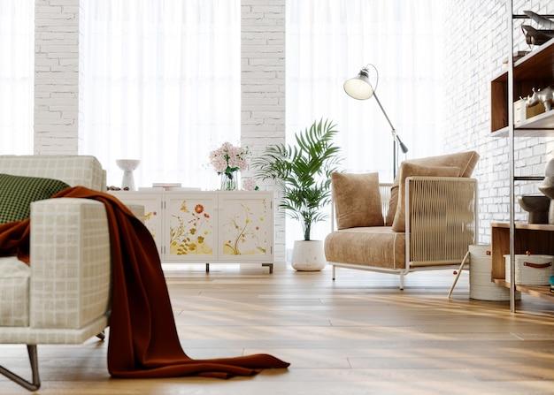 Interior of cozy living room with brick walls 3d render