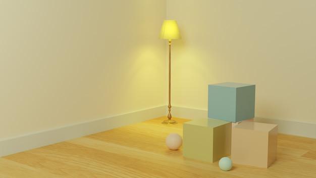製品プレゼンテーション用のランプの美的壁の背景を持つインテリアキューブ3d