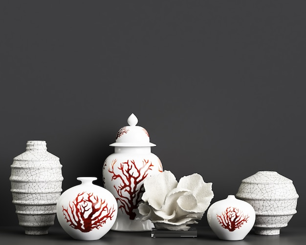 Interior decor mockup with chinese ginger jars and corals