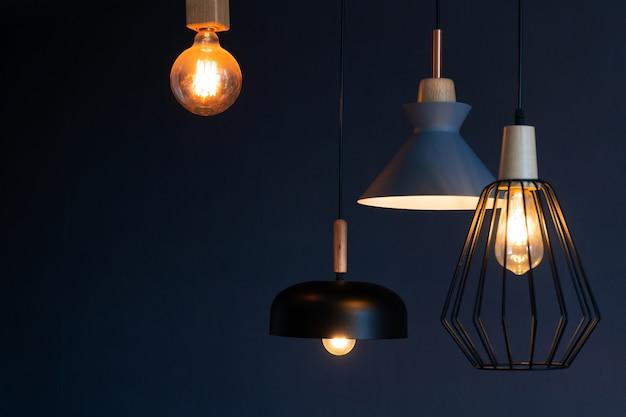 Interior decoration of stylish housing. loft style incandescent lamp. modern style home