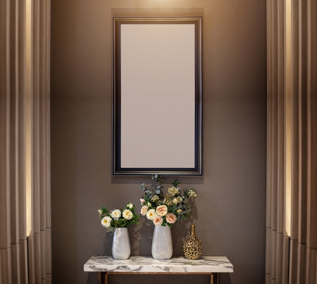 Interior decoration wall with flower on ceramic vase and photo frame