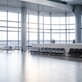 Interior of a deserted waiting room at the airport or train station