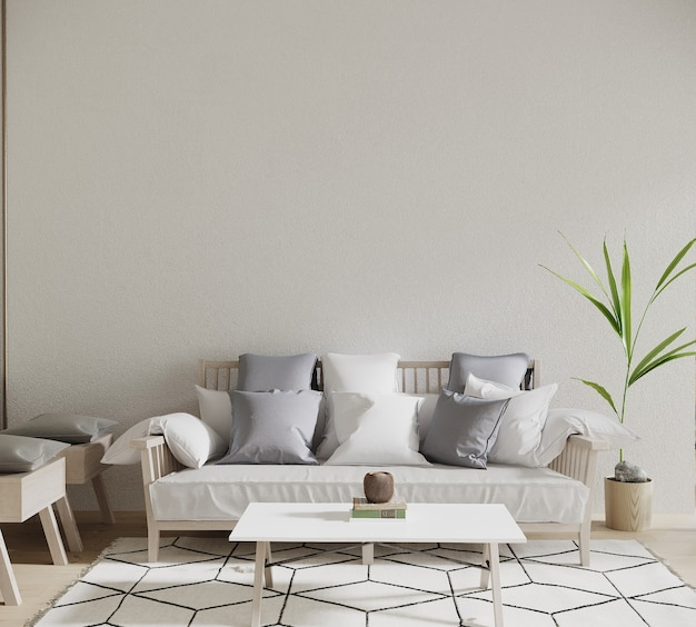 Interior design 3d render with sofa and pillow and plant