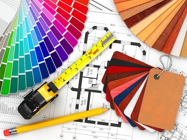 インテリア・デザイン。建築材料ツールと青写真