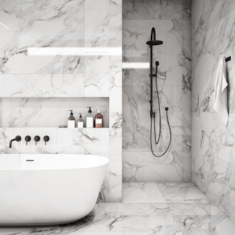Interior design for bathroom area in modern style