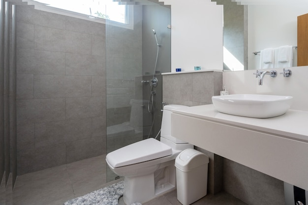 Interior design in bathroom of villa house home condo and apartment