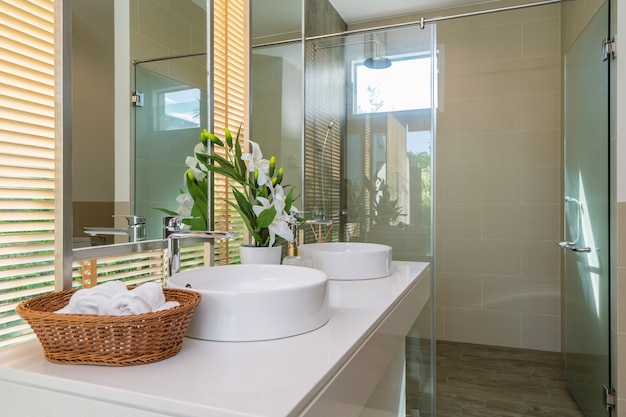 Interior design in bathroom of villa house home with feature basin