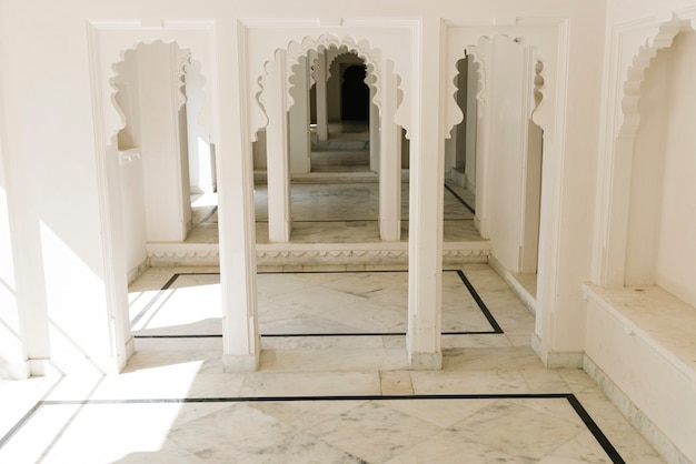 Interior design of city palace in udaipur rajasthan, india