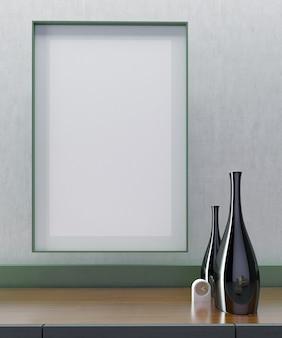 リビングのインテリアデザインのクローズアップ、緑と古典的な灰色の壁、モダンでミニマリストのテレビキャビネット、最小限のデザイン、花瓶の装飾、フレームモックアップ垂直ポスター付き正面図。3dイラスト。