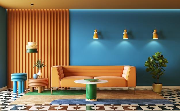 Interior design of colorful living room interior concept of memphis design 3d render