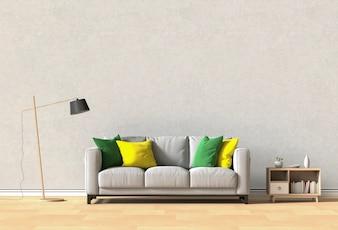 Interior design for living area or reception with sofa