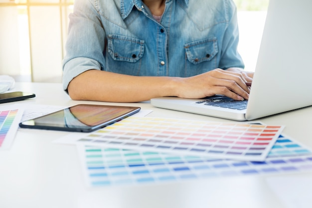 Interior design or graphic designer renovation and technology concept