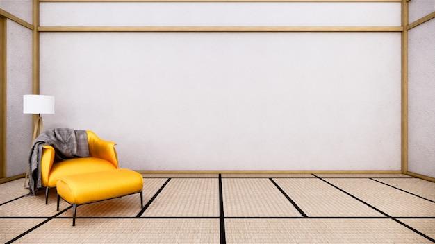インテリアデザインには、空の部屋の日本のデザイン、3 dレンダリングの肘掛け椅子があります。
