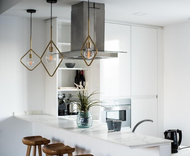 인테리어 디자인 하우스와 현대적인 흰색 주방