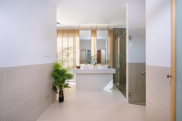Дизайн интерьера в ванной комнате виллы дома с раковиной