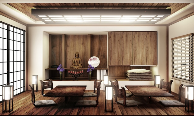 Interior design,japanese living room family very luxury