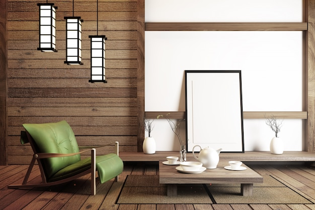 Interior design japanese style. 3d rendering