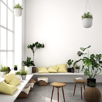 Interior design for living area in scandinavian style