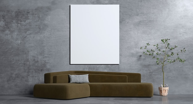 The interior design  of living room and black concrete wall  and picture frame