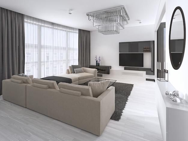 Дизайн интерьера: гостиная с большим угловым диваном и телевизором в современном стиле. 3d рендеринг