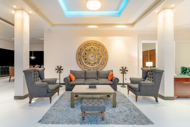 Interior design in living room with sofa or couch