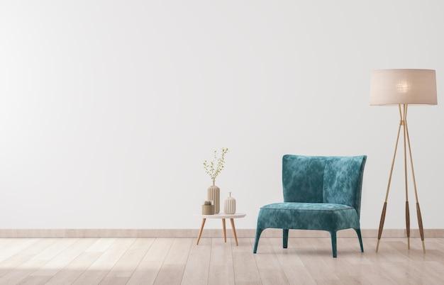 Interior design of living room with stylish velvet armchair