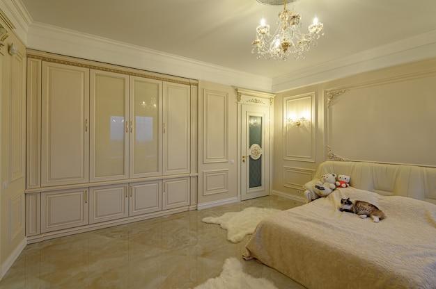 Interior design, luxury big modern bedroom