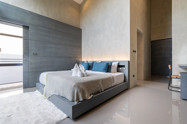 Interior design in modern bedroom