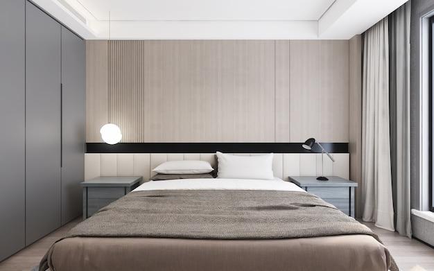 Interior design modern bedroomdaylight from window