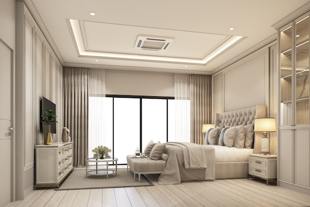 Interior design modern classic style of bedroom with white wood and gold steel texture and gray furniture bed set with windows and sheer curtain on wooden floor 3d rendering interior