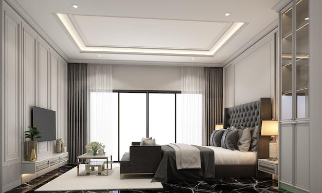 Дизайн интерьера спальни в современном классическом стиле с черной мраморной текстурой и черной стальной текстурой и серым мебельным гарнитуром, 3d рендеринг интерьера