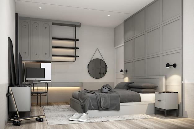 Дизайн интерьера спальни в современном классическом стиле с серой краской, черная мраморная древесина и текстура золота и белый мебельный гарнитур, 3d-рендеринг интерьера