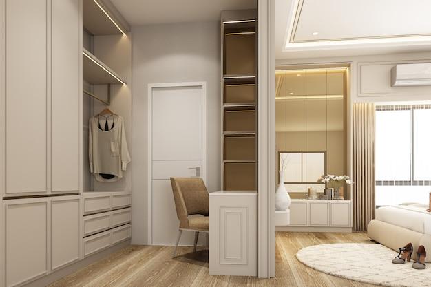 Дизайн интерьера спальни в современном классическом стиле с деревянной и золотой текстурой белой аэрозольной краски и белым мебельным гарнитуром, 3d визуализация интерьера