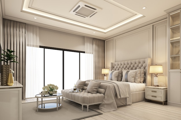 Дизайн интерьера спальни в современном классическом стиле с текстурой из белого дерева и золотой стали и серой мебелью, постельный гарнитур, 3d-рендеринг интерьера