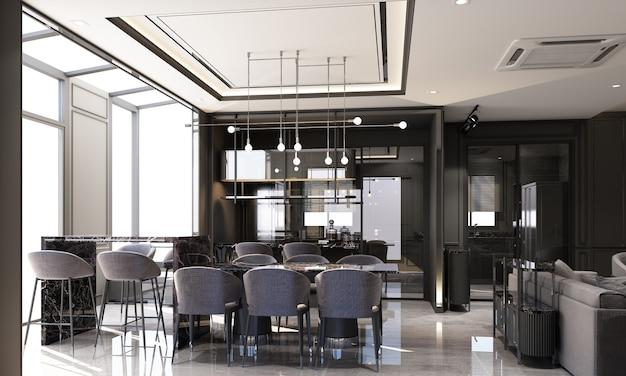 Дизайн интерьера в современном классическом стиле гостиной и столовой с черным мрамором и черной стальной текстурой, а также серая мебель, встроенная 3d-рендеринг интерьера.