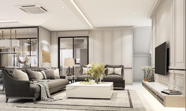 インテリアデザインモダンでクラシックなスタイルのリビングとダイニングエリア、黒い大理石と黒い鋼の質感、灰色の家具が組み込まれた3dレンダリング