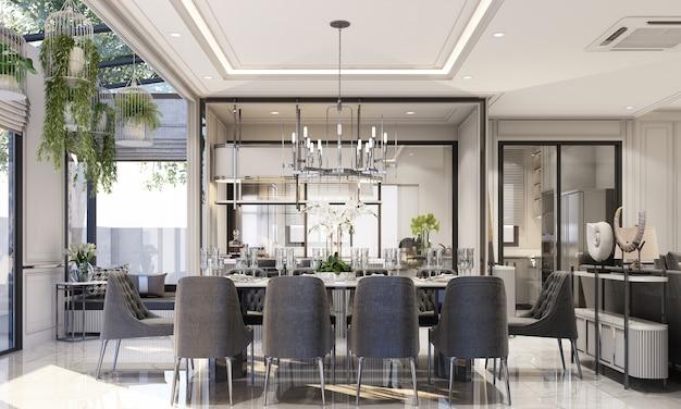 Дизайн интерьера в современном классическом стиле гостиной и столовой с черным мрамором и черной стальной текстурой, а также серая мебель, встроенная в 3d-рендеринг.