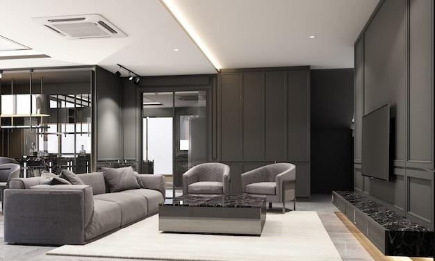 Дизайн интерьера гостиной в современном классическом стиле с текстурой черного мрамора и черной стали, а также серая мебель, встроенная 3d-рендеринг интерьера.