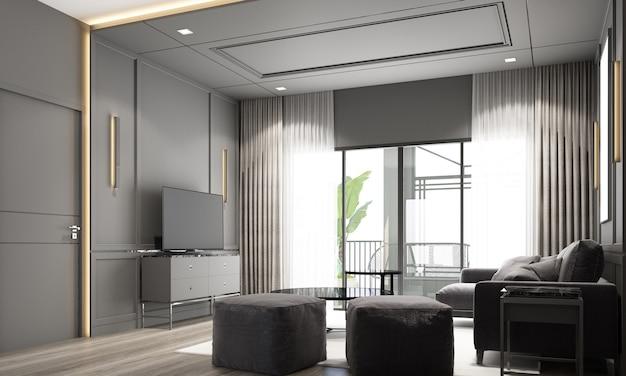 インテリアデザインモダンでクラシックなスタイルのリビングエリア、黒い大理石と黒い鋼の質感、灰色の家具が組み込まれた3dレンダリングインテリア