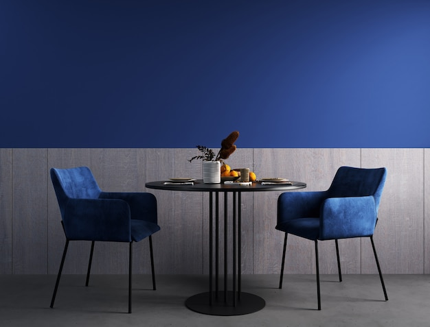 Interior design of modern dining room, black table and blue chairs 3d rendering