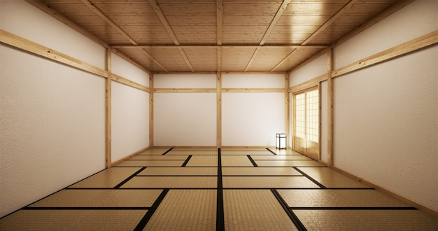 Interior design,modern living empty room with table,tatami mat floor. 3d rendering