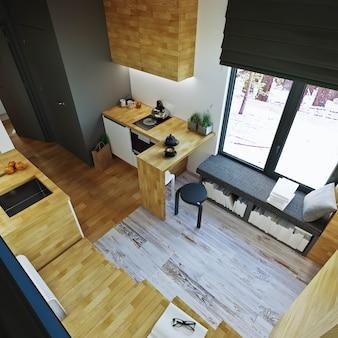 インテリア・デザイン。廊下とキッチンのあるモダンなリビングルーム-ダイニングルーム