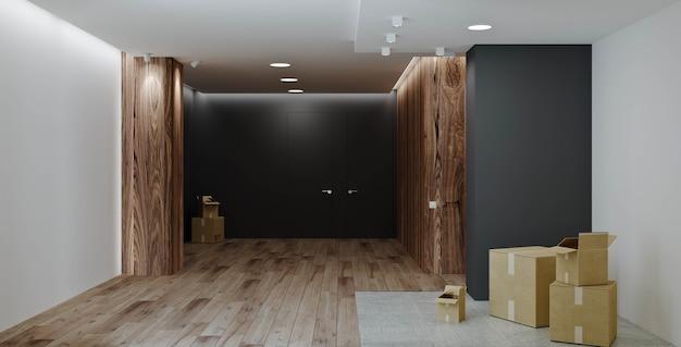 인테리어 디자인. 복도와 주방 - 식당이 있는 현대적인 거실