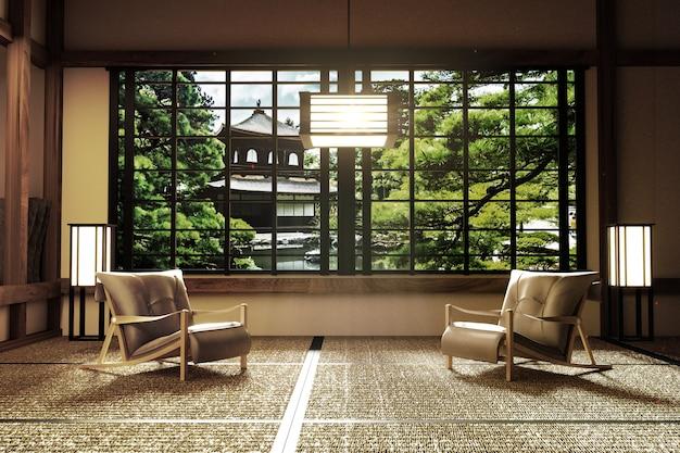 Interior design, modern living room with katana, lamp, tatami floor, japanese style