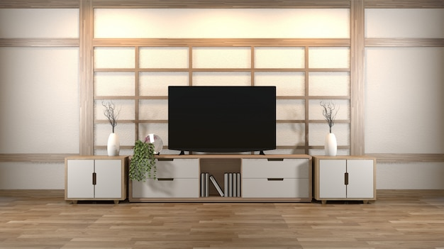 Interior design, modern living room with smart tv, table, lamp, wood floor and white wall