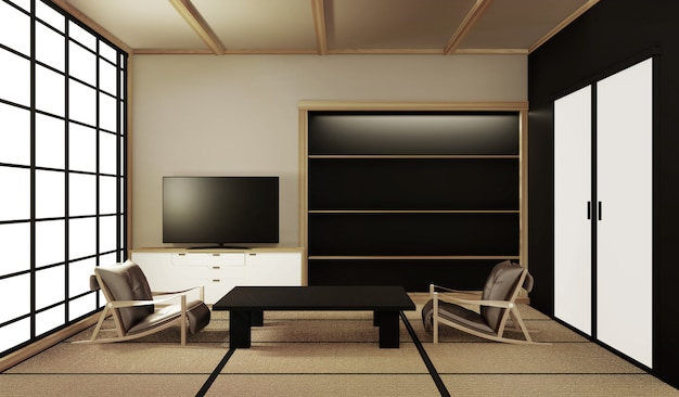 Interior design,modern living room with table on tatami mat floor japanese style. 3d rendering